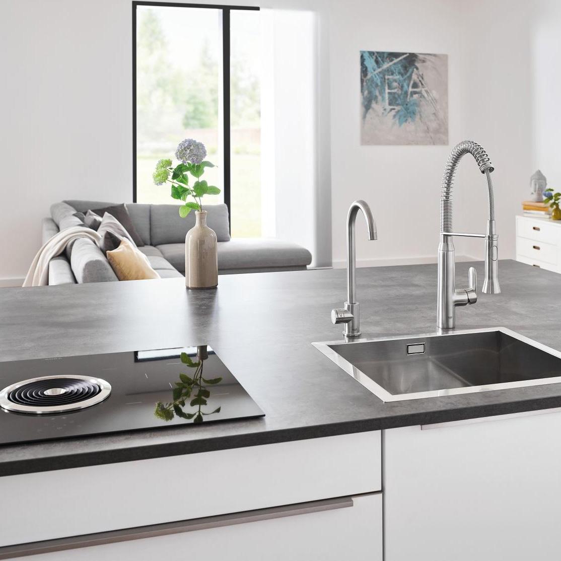 grohe blue home mono swivel 150 chrome kitchen tap. Black Bedroom Furniture Sets. Home Design Ideas
