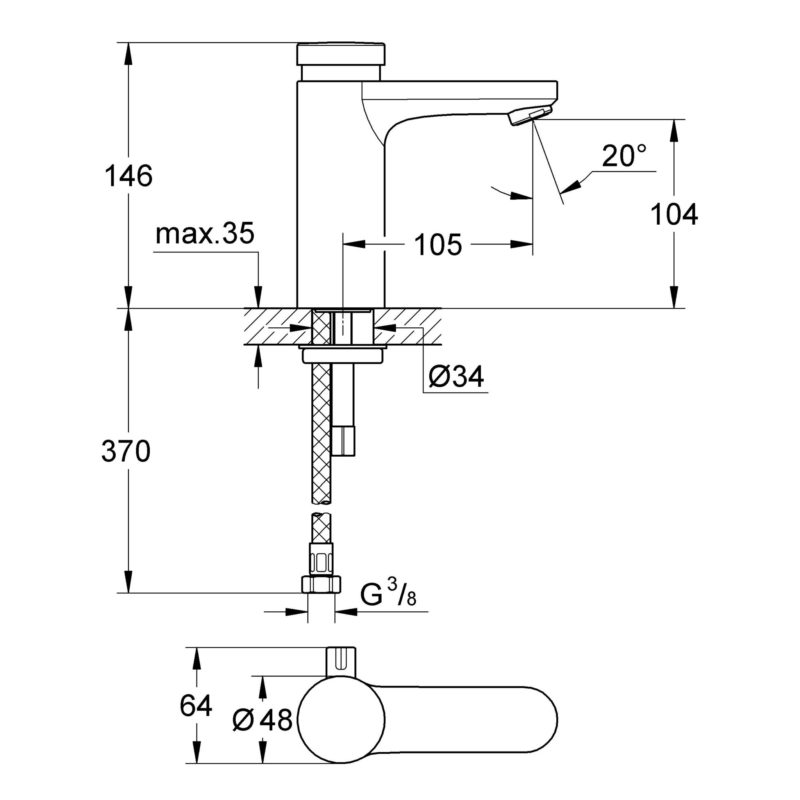 Grohe Eurosmart Cosmopolitan T Self Closing Basin Mixer with Mixing Device and Adjustable Temperature Limiter Dimensions