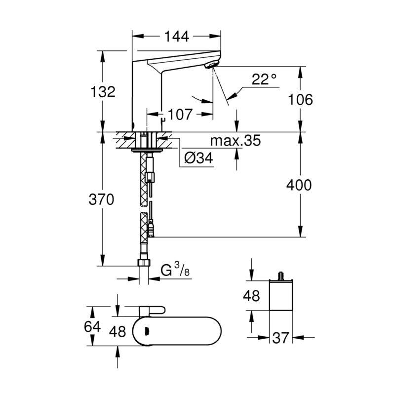 Grohe Eurosmart Cosmopolitan E Electronic Battery Powered Temperature Control Sensor Mixer Tap Dimensions