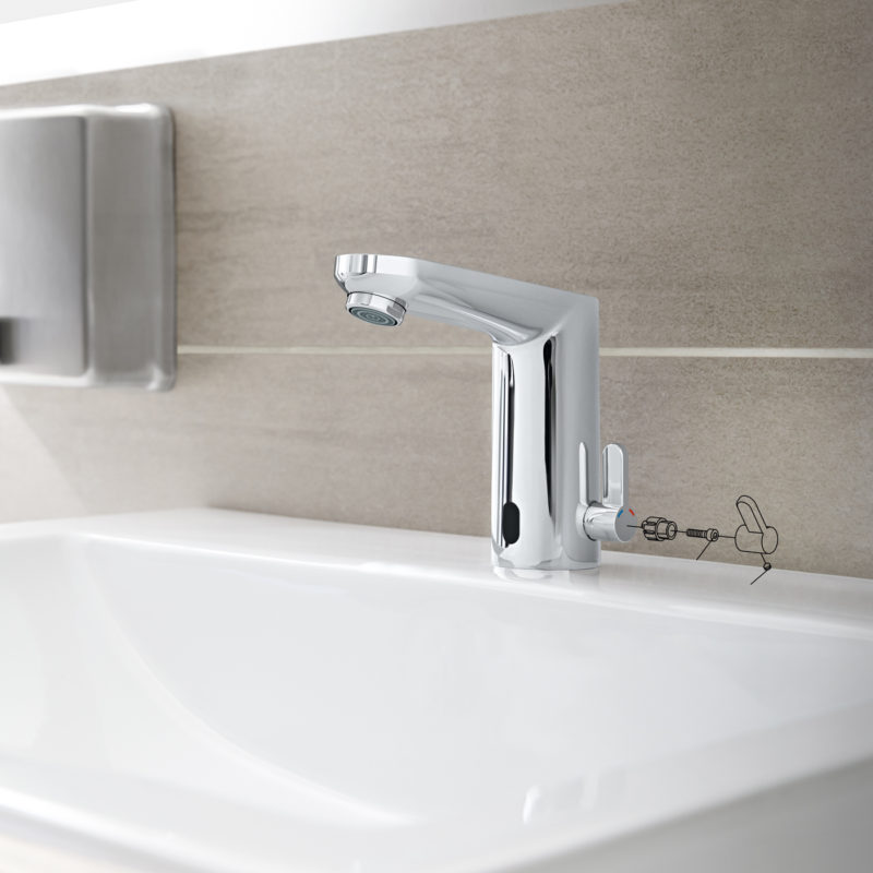 Grohe Eurosmart Cosmopolitan E Electronic Battery Powered Temperature Control Sensor Mixer Tap Lifestyle