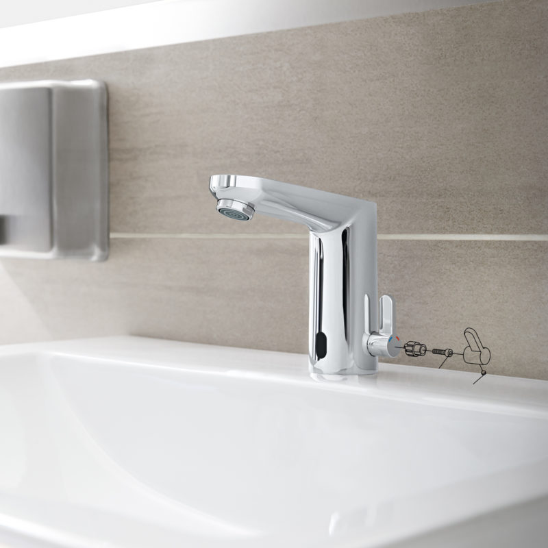 Grohe Eurosmart Cosmopolitan E Electronic Mains Powered Temperature Control Sensor Mixer Tap Lifestyle