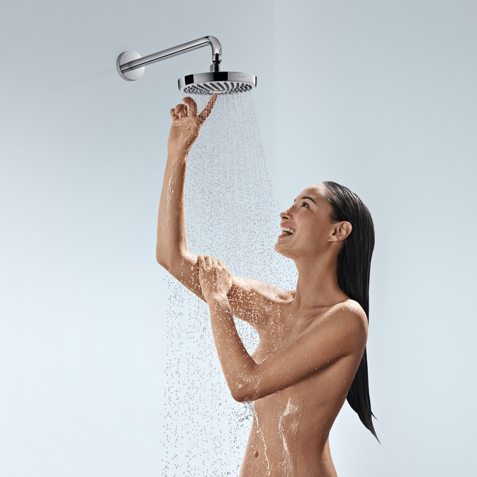 hansgrohe Croma Select S 180 2Jet Chrome and White Overhead EcoSmart Shower with Model