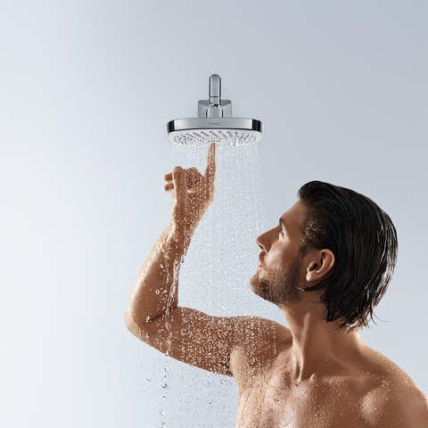 hansgrohe Croma Select E 180 2Jet Chrome and White Overhead EcoSmart Shower with Model
