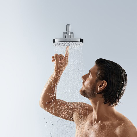 hansgrohe Croma Select E 180 2Jet Overhead EcoSmart Chrome Shower with Model