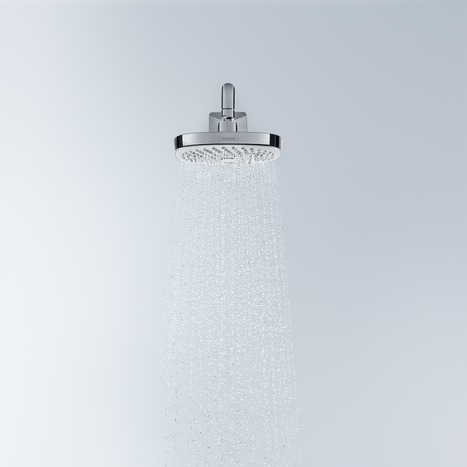 hansgrohe Croma Select E 180 2Jet Chrome and White Overhead EcoSmart Shower In Use