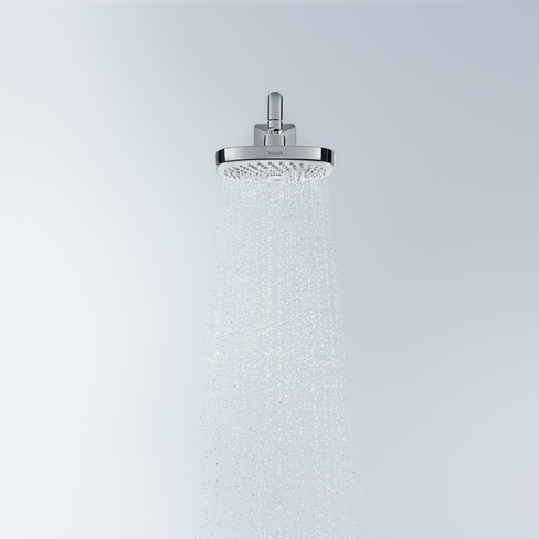 hansgrohe Croma Select E 180 2Jet Overhead EcoSmart Chrome Shower In Use