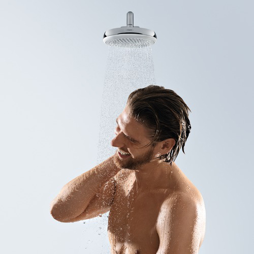 hansgrohe Crometta 160 1Jet Chrome and White Overhead Shower Male Model