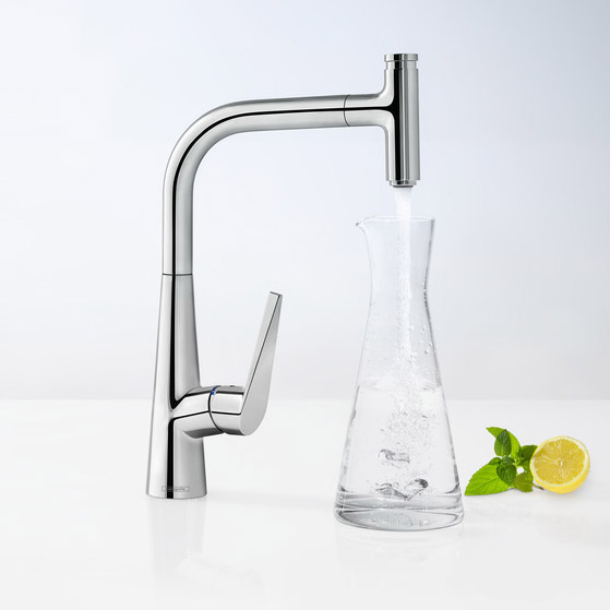hansgrohe Talis Select S with Pull-out Spout Single Lever Swivel Spout 300 Chrome Kitchen Mixer ComfortZone