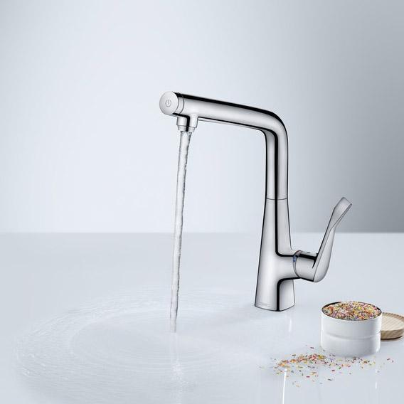 hansgrohe metris select single lever swivel spout 320 chrome kitchen mixer. Black Bedroom Furniture Sets. Home Design Ideas