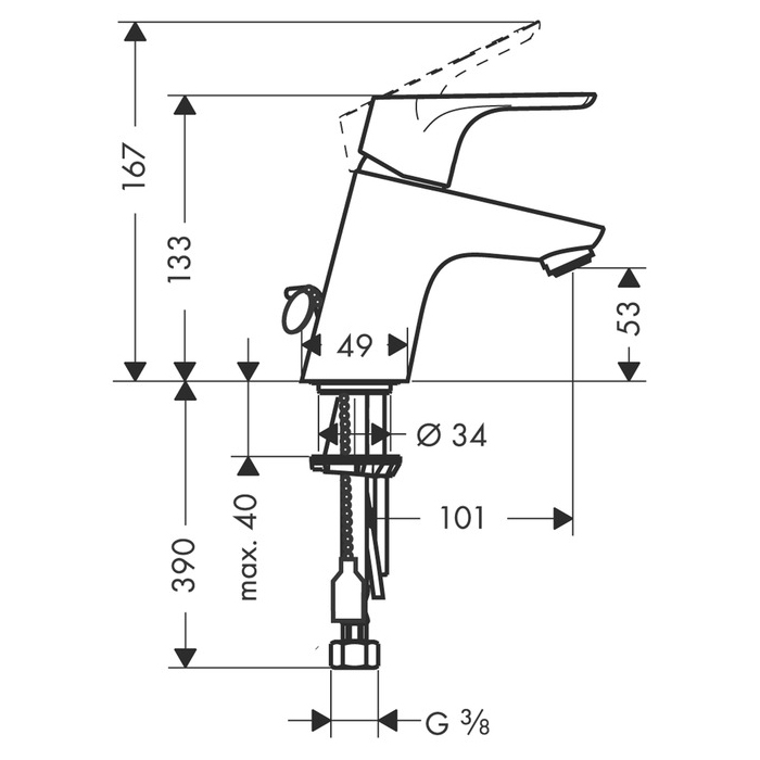 hansgrohe Single Lever Basin Mixer with Chain Scale Diagram