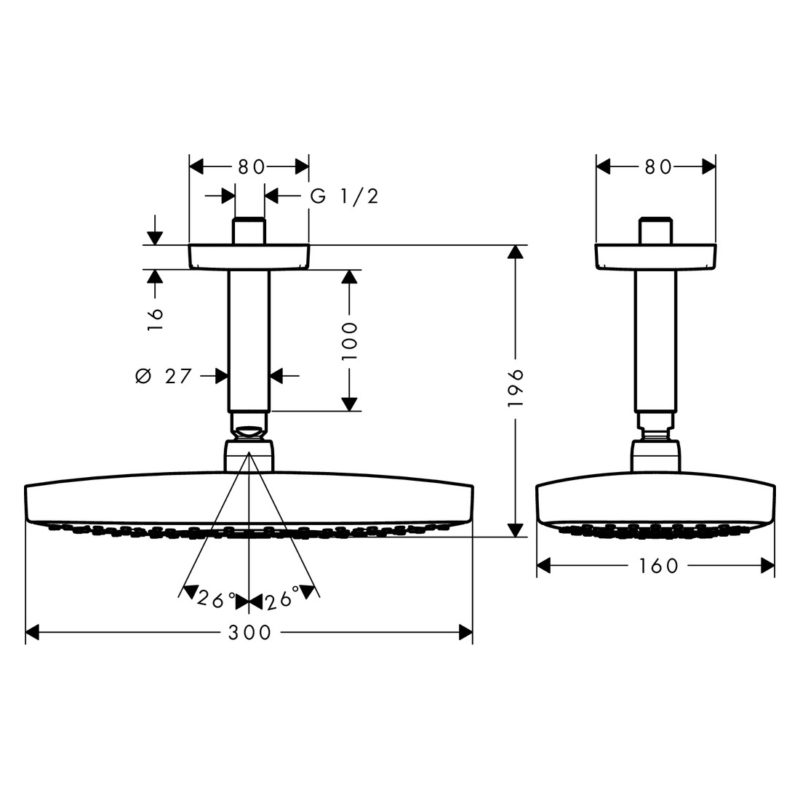 hansgrohe Raindance Select E 300 2Jet EcoSmart With Ceiling Connection 100mm Scale Diagram