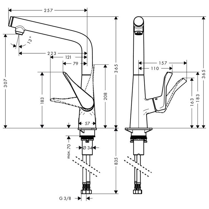 hansgrohe Metris Select Single Lever Swivel Spout 320 Chrome Kitchen Mixer Dimensions