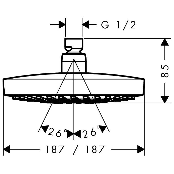 hansgrohe Croma Select E 180 2Jet Overhead EcoSmart Chrome Shower Scale Diagram