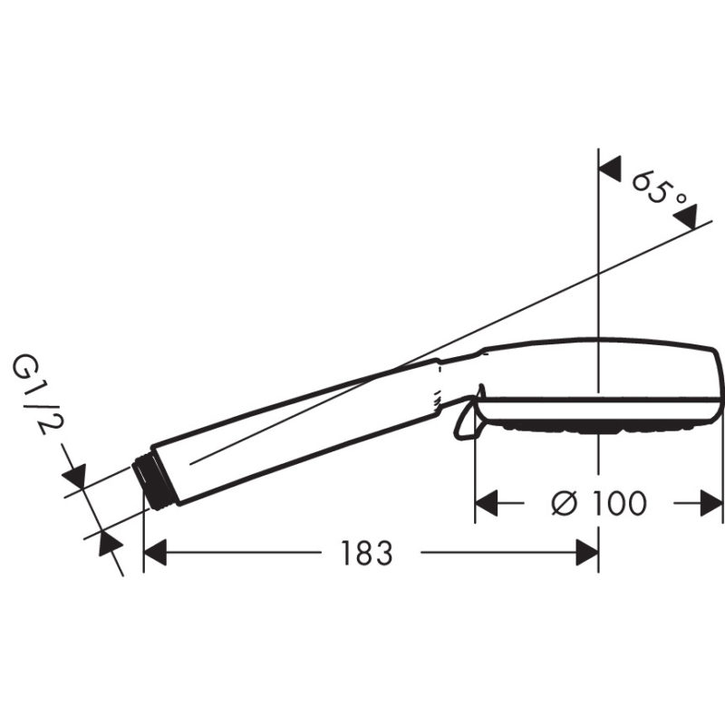 hansgrohe Crometta 100 Multi EcoSmart Hand Shower 9lpm Flow Diagram Scale Drawings