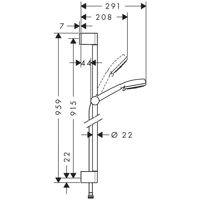 hansgrohe Crometta 100 Vario EcoSmart 9 lpm Shower Set 0.9m Scale Drawings