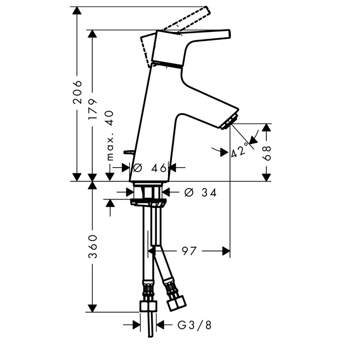 hansgrohe Talis S 80 CoolStart Single Lever Basin Mixer with Pop-Up Waste Set Scale Diagram