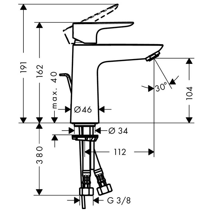 hansgrohe talis e 110 coolstart single lever basin mixer