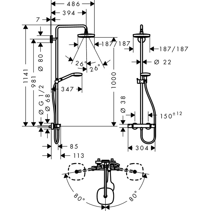 hansgrohe Croma Select E 180 2Jet Showerpipe Scale Diagram