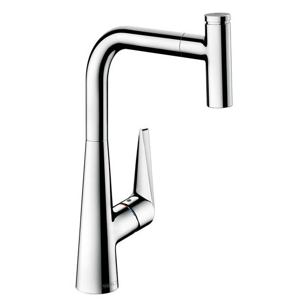 hansgrohe Talis Select S with Pull-out Spout Single Lever Swivel Spout 300 Chrome Kitchen Mixer