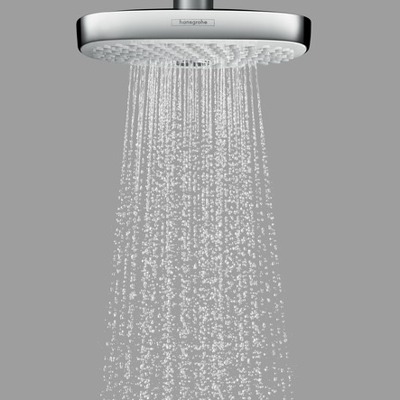 hansgrohe Croma Select E 180 2Jet Chrome and White Overhead EcoSmart Shower Close Up
