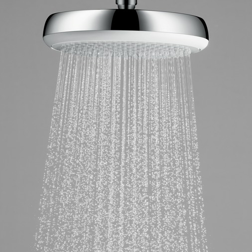 hansgrohe Crometta 160 1Jet Chrome and White Overhead Shower Close Up