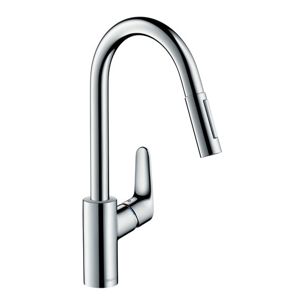 hansgrohe focus with pull out spray single lever swivel. Black Bedroom Furniture Sets. Home Design Ideas