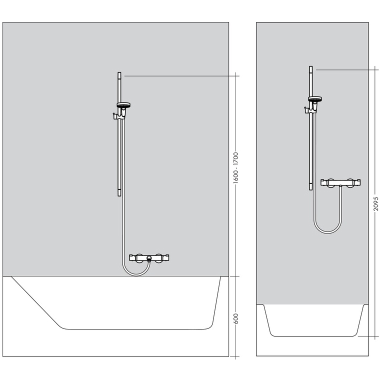 hansgrohe Crometta 100 Vario EcoSmart 9 lpm Shower Set 0.9m Installation Diagram