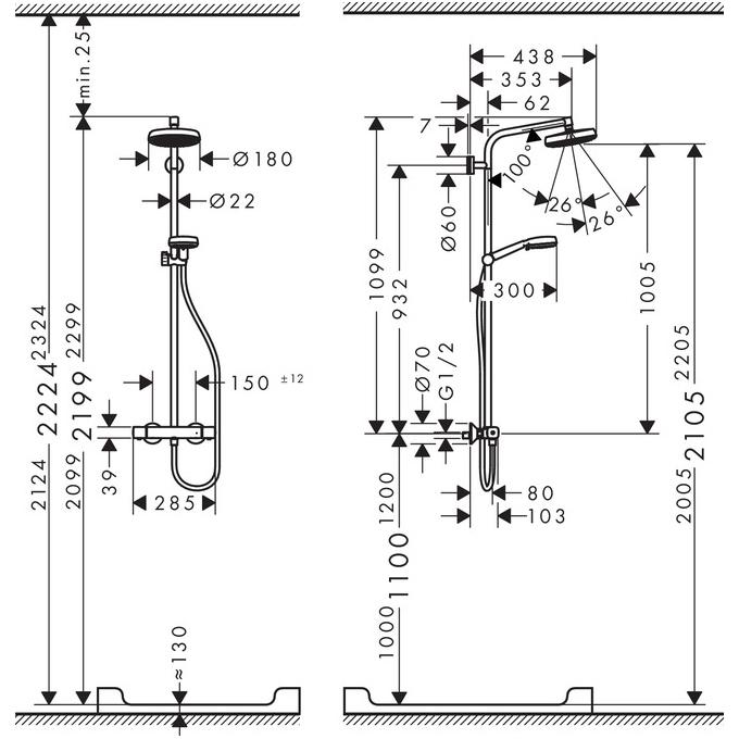 hansgrohe Crometta 1Jet EcoSmart Showerpipe Installation Guide