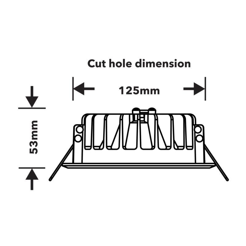 52445 52449 Verbatim LED Downlight 135mm Technical Drawing