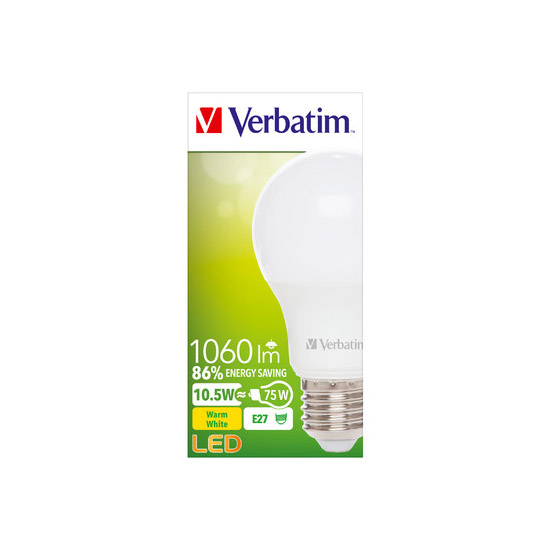Verbatim LED Classic A Bulb Frosted E27 10.5W 2700K 52634 Packaging
