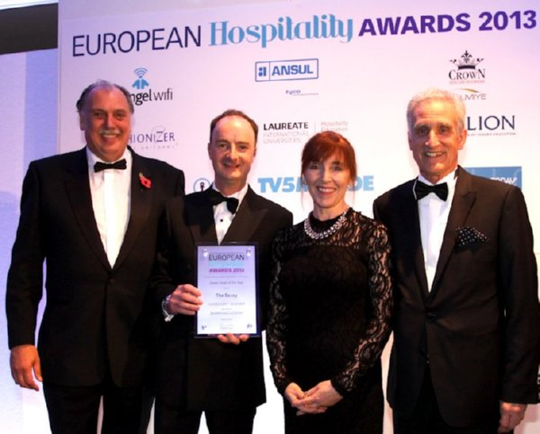 Image of SaveMoneyCutCarbon MD Mark Sait with EHA Green Hotel of the Year 2013 winners The Savoy