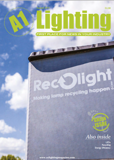Image of A1 Lighting magazine green issue cover featuring SaveMoneyCutCarbon