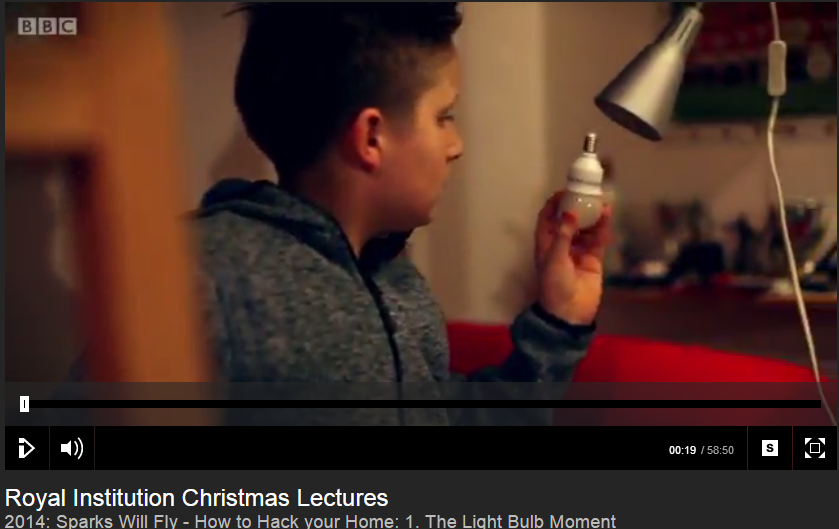 Still from BBC Christmas Lectures 2014 - light bulb moment
