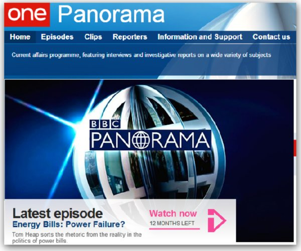 Image of BBC Panorama energy programme on web with link - SaveMoneyCutCarbon