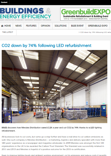 Screengrab of Buildings & Energy Efficiency magazine story on Menzies Distribution LED lighting retrofit by SaveMoneyCutCarbon