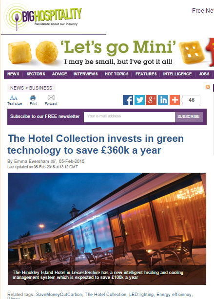 Big Hospitality story onThe  Hotel Collection £360K energy savings story with SaveMoneyCutCarbon.com