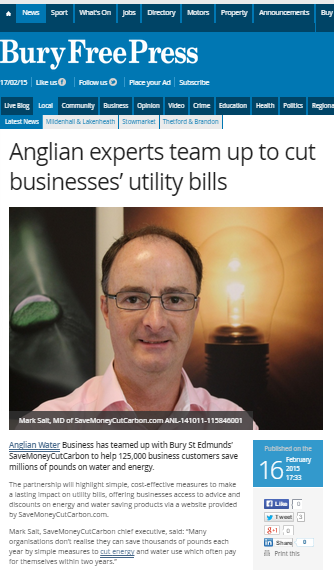 Bury Free Press Anglian Water Business money-saving partnership with SaberMoneyCutCarbon