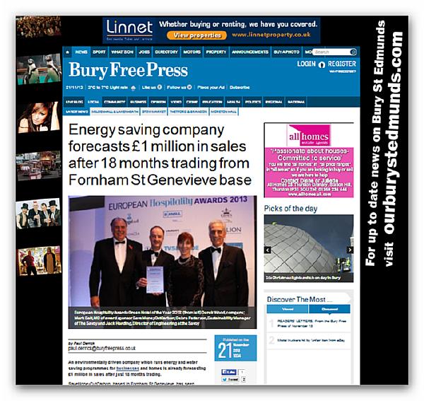 Image of Bury Free Press website showing SaveMoneyCutCarbon business news story