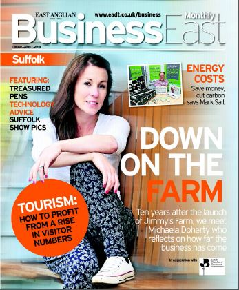 Business East magazine cover featuring SaveMoneyCutCarbon MD Mark Sait