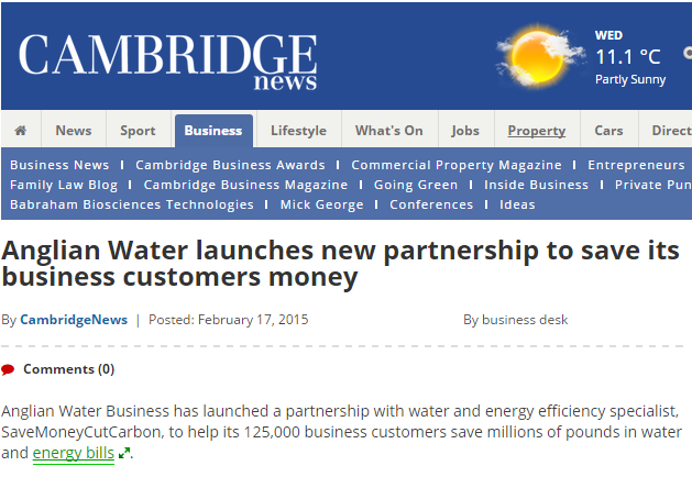 Cambridge News story on Anglian Water Business partnership with SaveMoneyCutCarbon