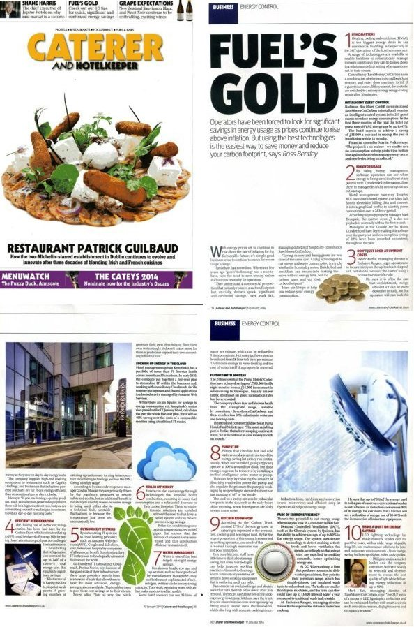Image of Caterer & Hotelkeeper article with 10 top energy saving and water saving tips for hospitality sector