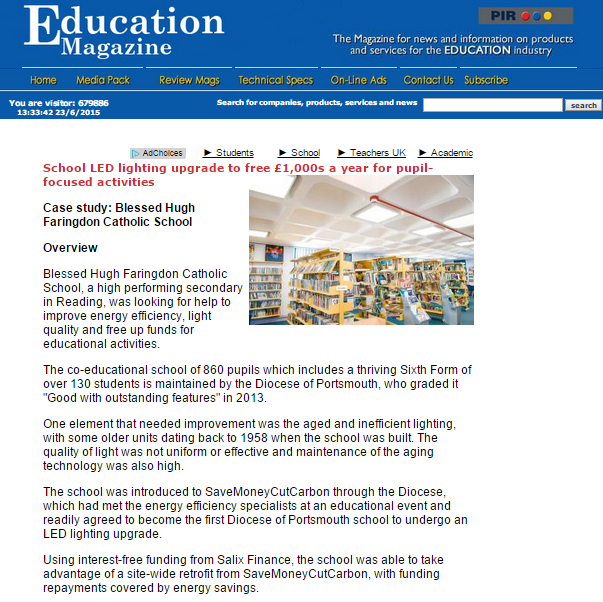 Image of Education Magazine online featuring school LED lighting retrofit and savings story