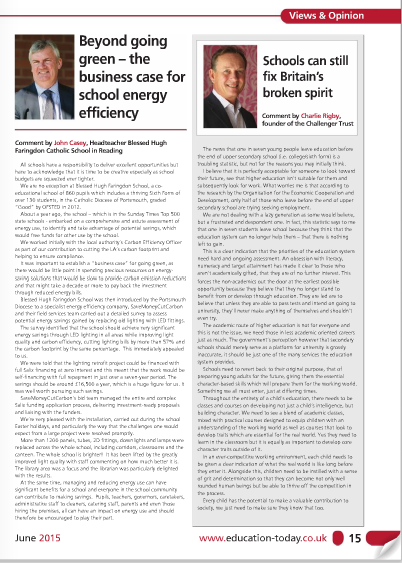 Image of Education Today article on school LED lighting retrofit