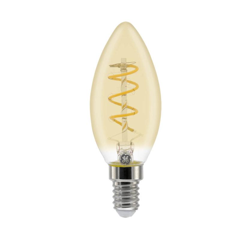 GE LED Filament Heliax Candle Bulb Gold C35 E14 - 93078636 - Main