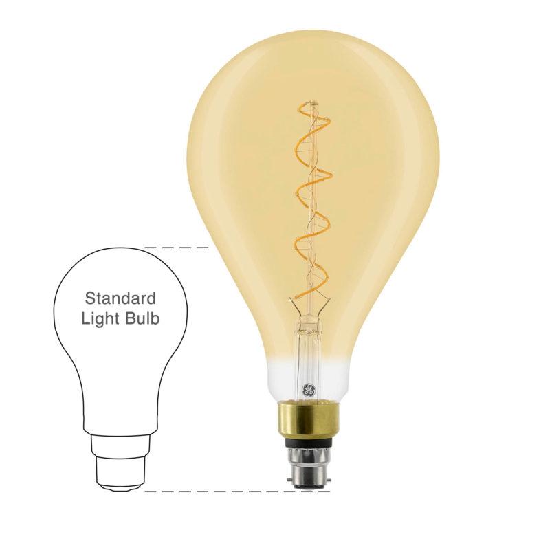 GE LED Filament Heliax GLS Bulb Gold A160 B22 - 93078640 - Scale-Main