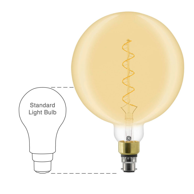GE LED Filament Heliax Globe Bulb Gold G200 B22 - 93078639 - Scale-Main