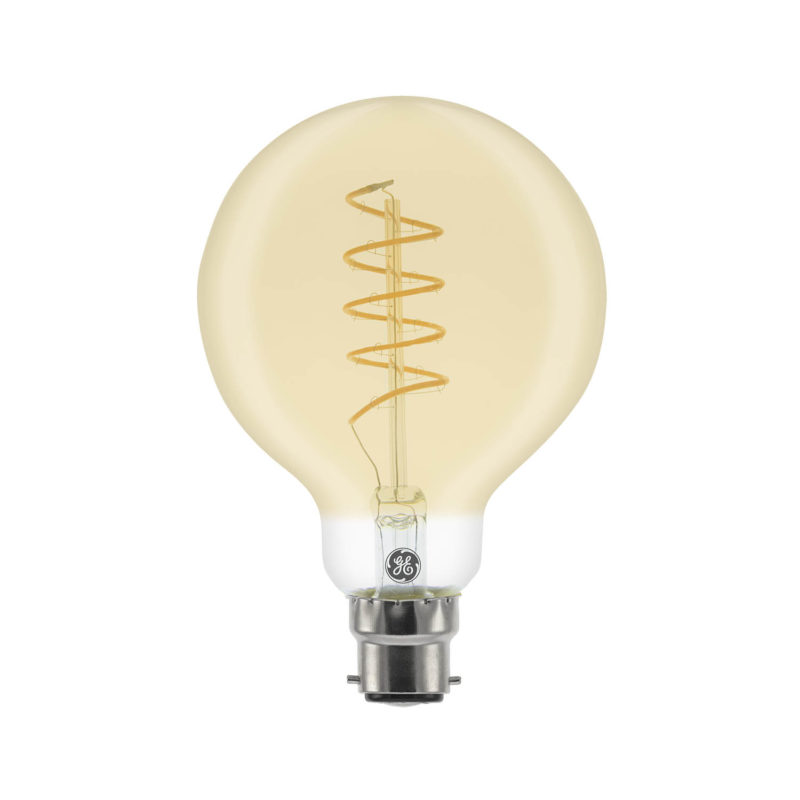 GE LED Filament Heliax Globe Bulb Gold G80 B22 - 93078642 - Main