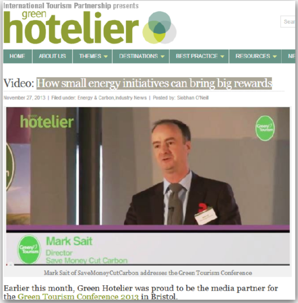 Image of Green Hotelier website story - Mark Sait, SaveMoneyCutCarbon managing director - business energy and water savings
