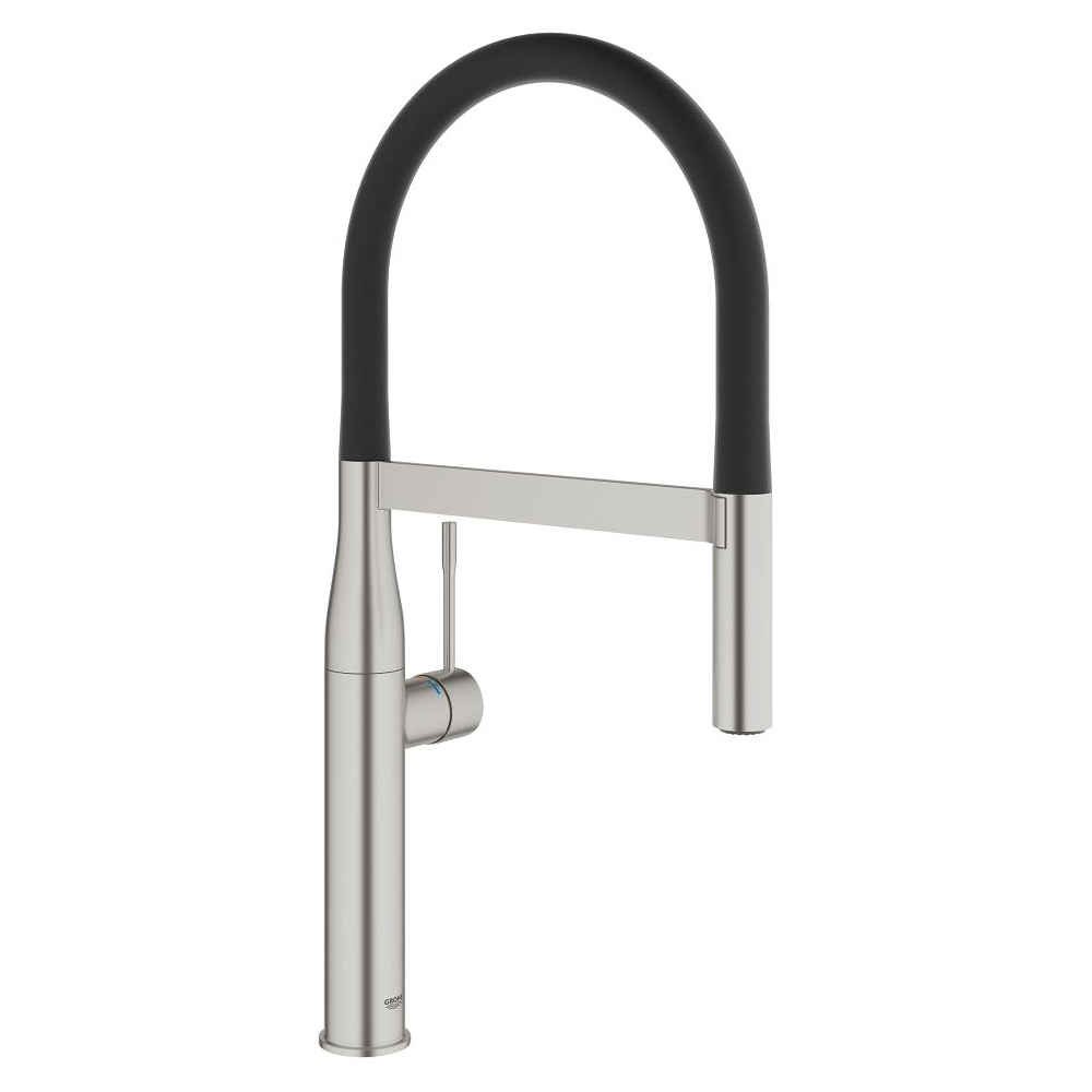 grohe essence with spray single lever swivel spout 360 supersteel kitchen mixer tap. Black Bedroom Furniture Sets. Home Design Ideas