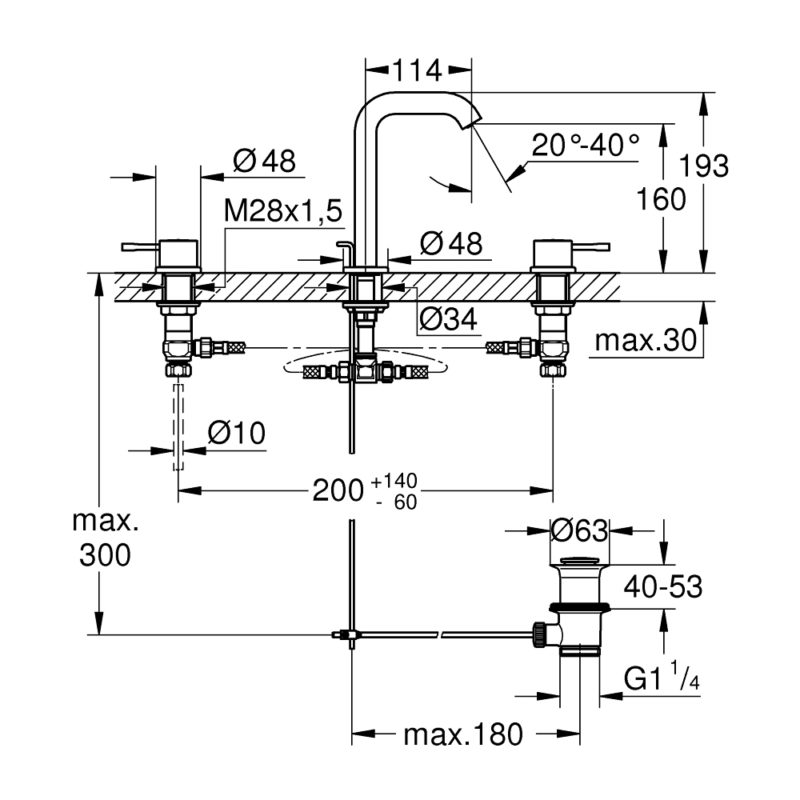 Grohe Essence Three-hole M-Size Basin Mixer 20296001 dimension